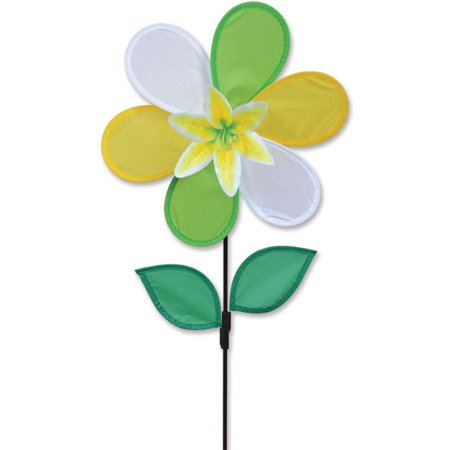 Premier Kite Triple Spinner - Premier Flower Spinner - Yellow Lily,  Colorful Garden Yard Outdoor Decor, 12 inches