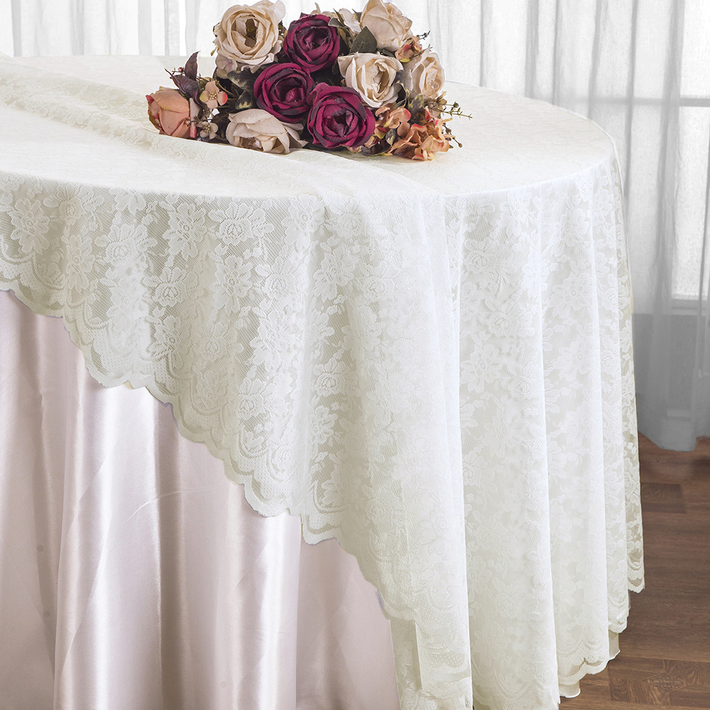 Wedding Linens Inc. 108u201d Lace Table Overlays, Lace Tablecloths Round, Lace Table  Overlay Linens, Lace Table Toppers For Wedding Decorations, Events Banquet  ...
