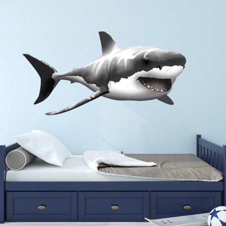 VWAQ Giant Great White Shark Wall Decal Peel and Stick Wall Art … (24