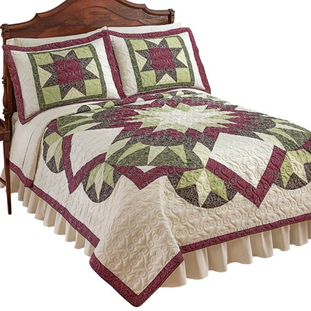 Geometric Bright Star and Diamond Pattern Heirloom Quality Lightweight Quilt, King, Multi
