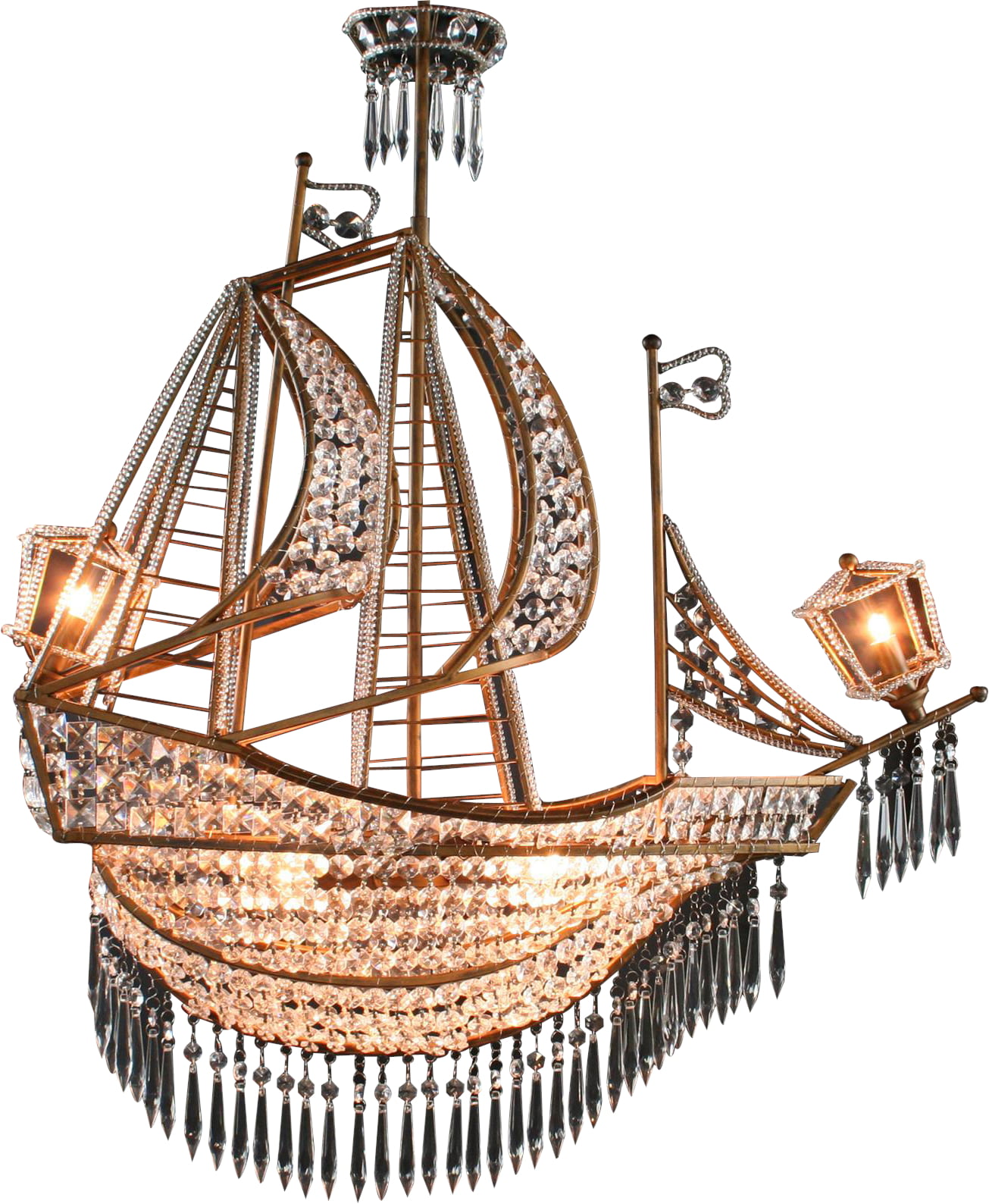 New Large Sailing Ship Crystal Chandelier, 6 Lights, Glass & Antiqued Bronze by