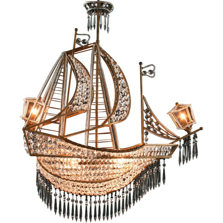 New Large Sailing Ship Crystal Chandelier, 6 Lights, Glass & Antiqued Bronze