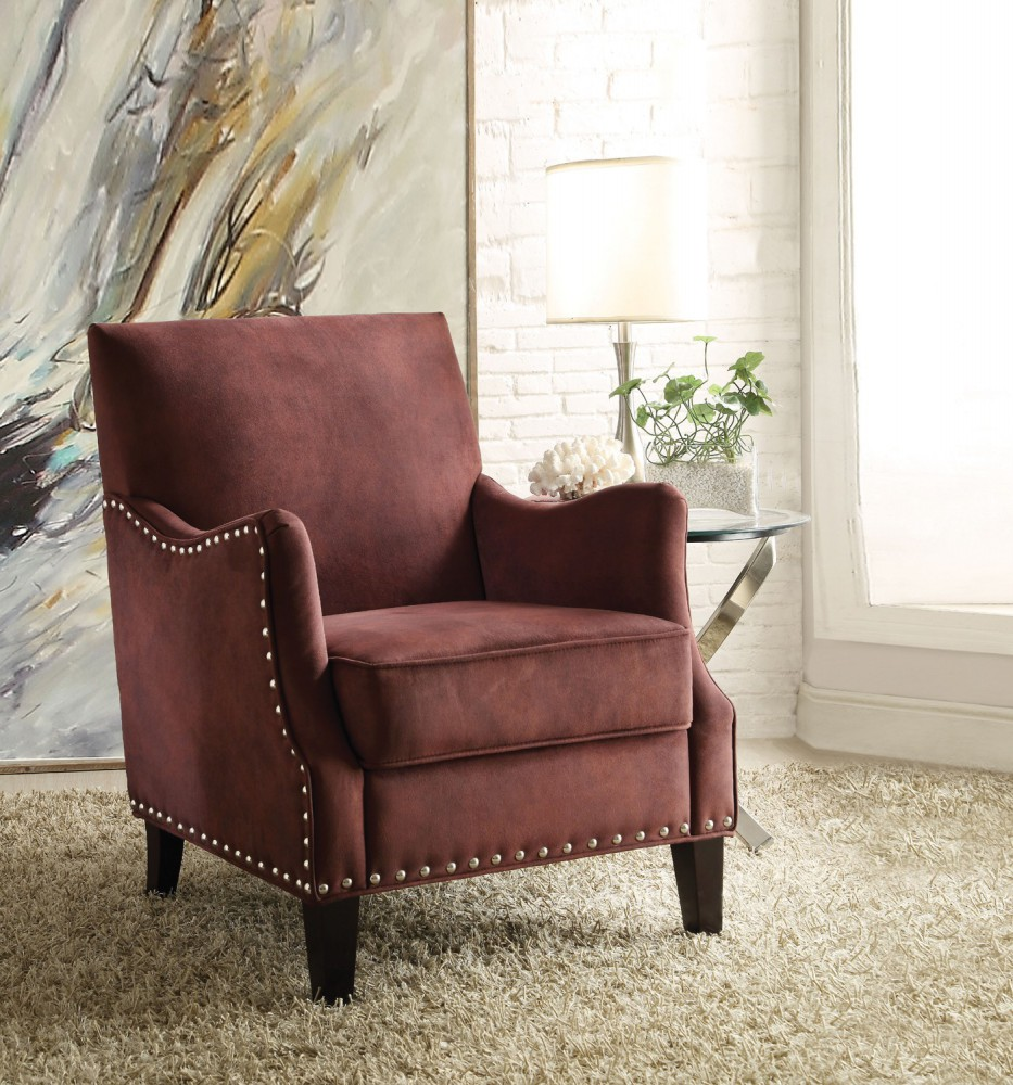 Belcampo Rust Accent Chair Specifications: Sinai Rust Red Fabric Accent Chair