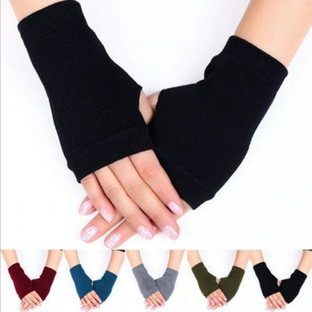 1 Pair Women Cashmere Fingerless Warm Winter Gloves Hand Wrist Warmer Mittens ()