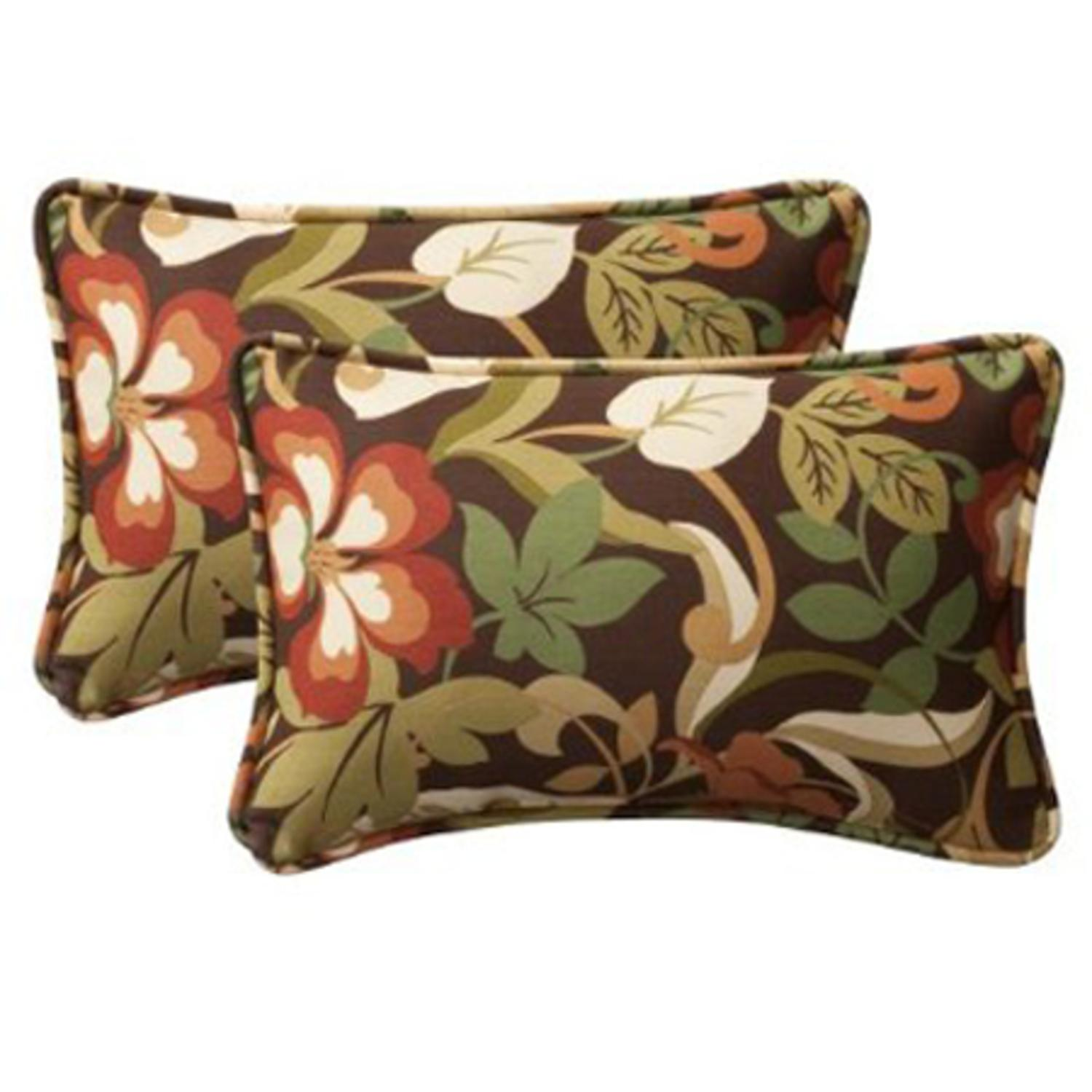 "Pack of 2 Outdoor Patio Furniture Rectangular Throw Pillows 18"" - Floral Cafe"