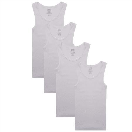 Buyless Fashion Boys Undershirts Tank Top White Soft Cotton Pack of 4