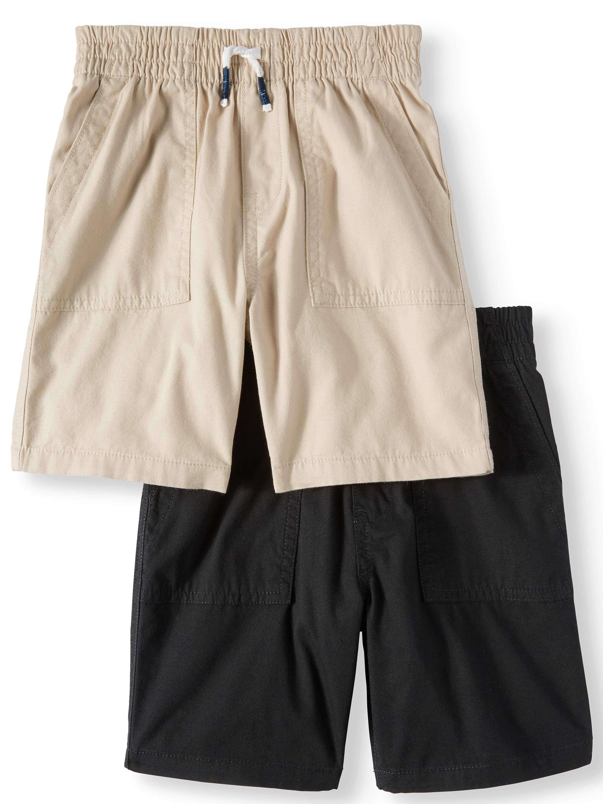 Canvas Pull On Utility Shorts, 2pc Multi-Pack (Toddler Boys)