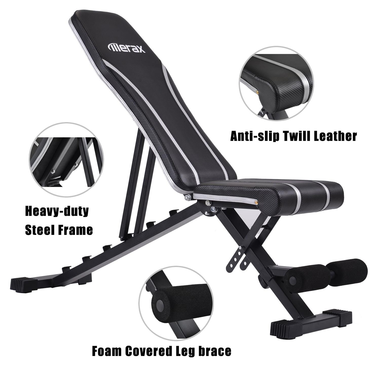 Multi-Purpose Foldable Weight Bench Flat//Incline//Decline Bench Merax Adjustable Bench,Incline Decline Weight Bench for Full Body Workout