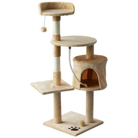 """PawHut 45"""" Tall Cat Condo Tower Scratching Post Activity Tree House Furniture - Beige/White With Toys"""
