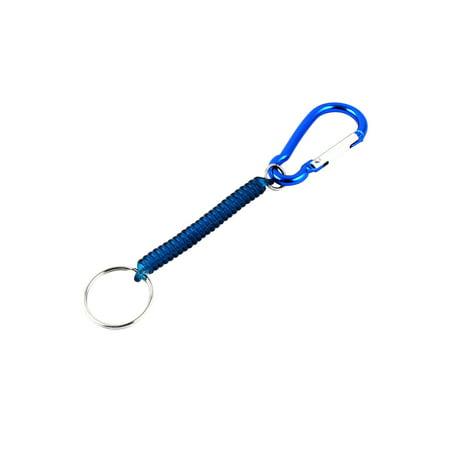 (Blue Carabiner Hook Elastic Spring Coil Keyring Keychain Rope 13.5cm)