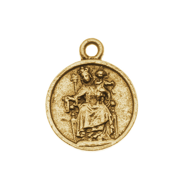 Nunn Design Antiqued Gold Plated Round Medallion Charm 'Reconciler' 22mm (1)