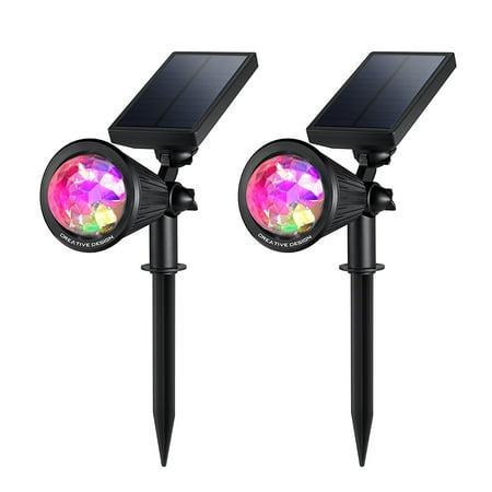 creative design led outdoor solar spotlight multi colored 4 led