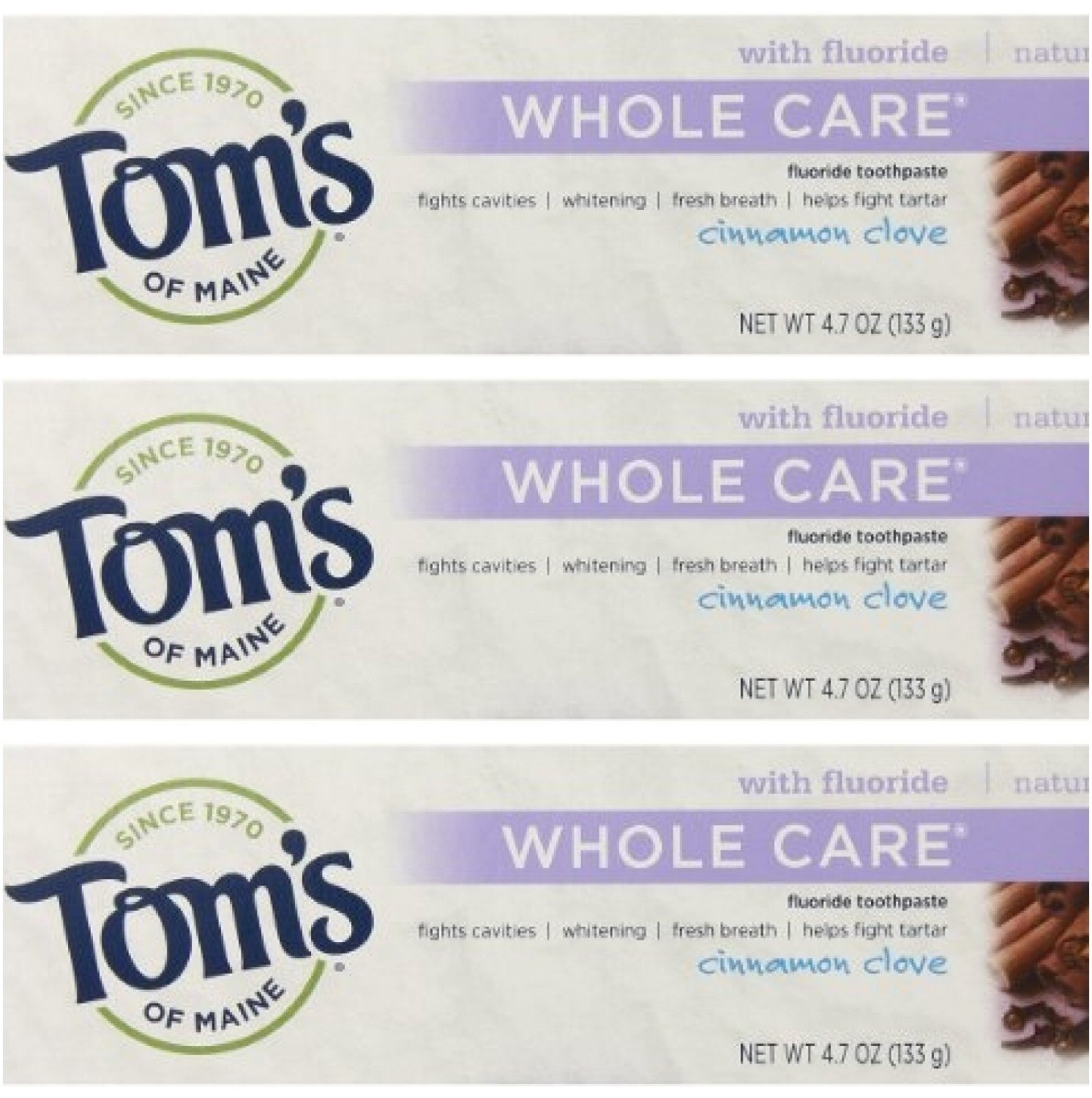 Tom's of Maine Natural Whole Care Toothpaste with Fluoride, Cinnamon Clove, 3 Count, Natural. Anticavity & tartar control plus whitening By Toms of Maine From USA