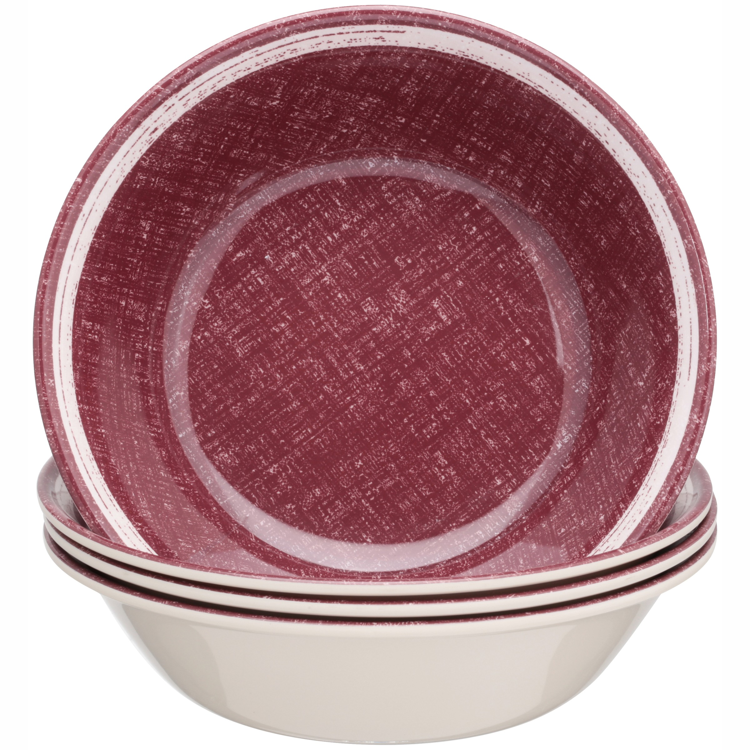 Mainstays Red Linen Bowl, 4 Pack