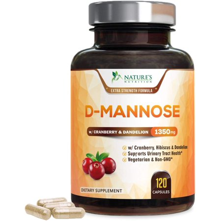 Nature's Nutrition D-Mannose Capsules with Cranberry for UTI, Bladder, & Urinary Tract Health, 1400mg, 120 Ct.