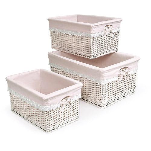 Badger Basket - Set of Three Baskets, Pink
