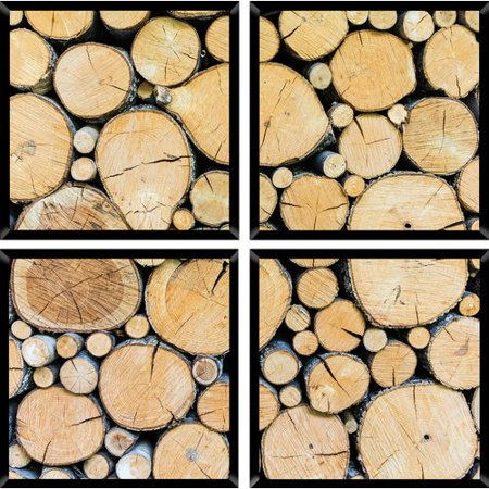 PTM Images Wood Slice 4 Piece Quadriptych Framed Photographic Print Set