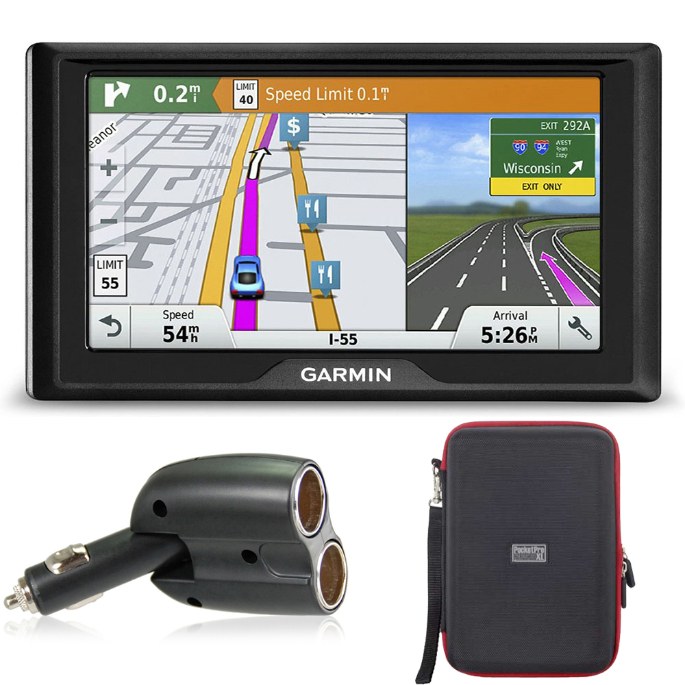 Garmin Drive 60 GPS Navigator (US Only) Charger Bundle includes Garmin Drive 60LMT, UGC-102-BL Dual 12V Car GPS Charger and PocketPro XL Hardshell Case