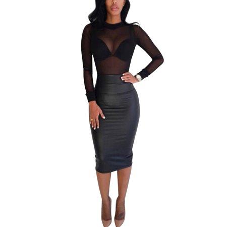 OUMY Women Mesh Sheer Turtleneck Party Clubwear Blouse Tops