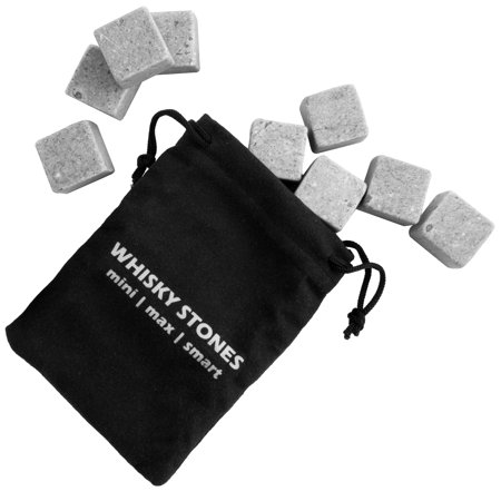 Ice Big Stones (ForTheChef (10 Piece) Soapstone Whiskey Stones Set Of 9 Whiskey Rocks Ice Cubes & Pouch Bulk Reusable )
