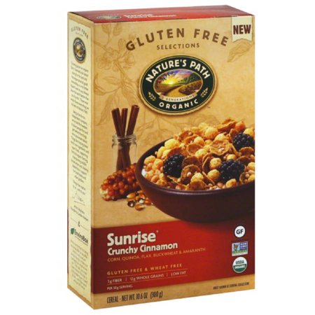 Nature's Path Organic Gluten Free Selections Sunrise Crunchy Cinnamon Cereal, 10.6 oz, (Pack of 6) Low Salt Organic Cereal