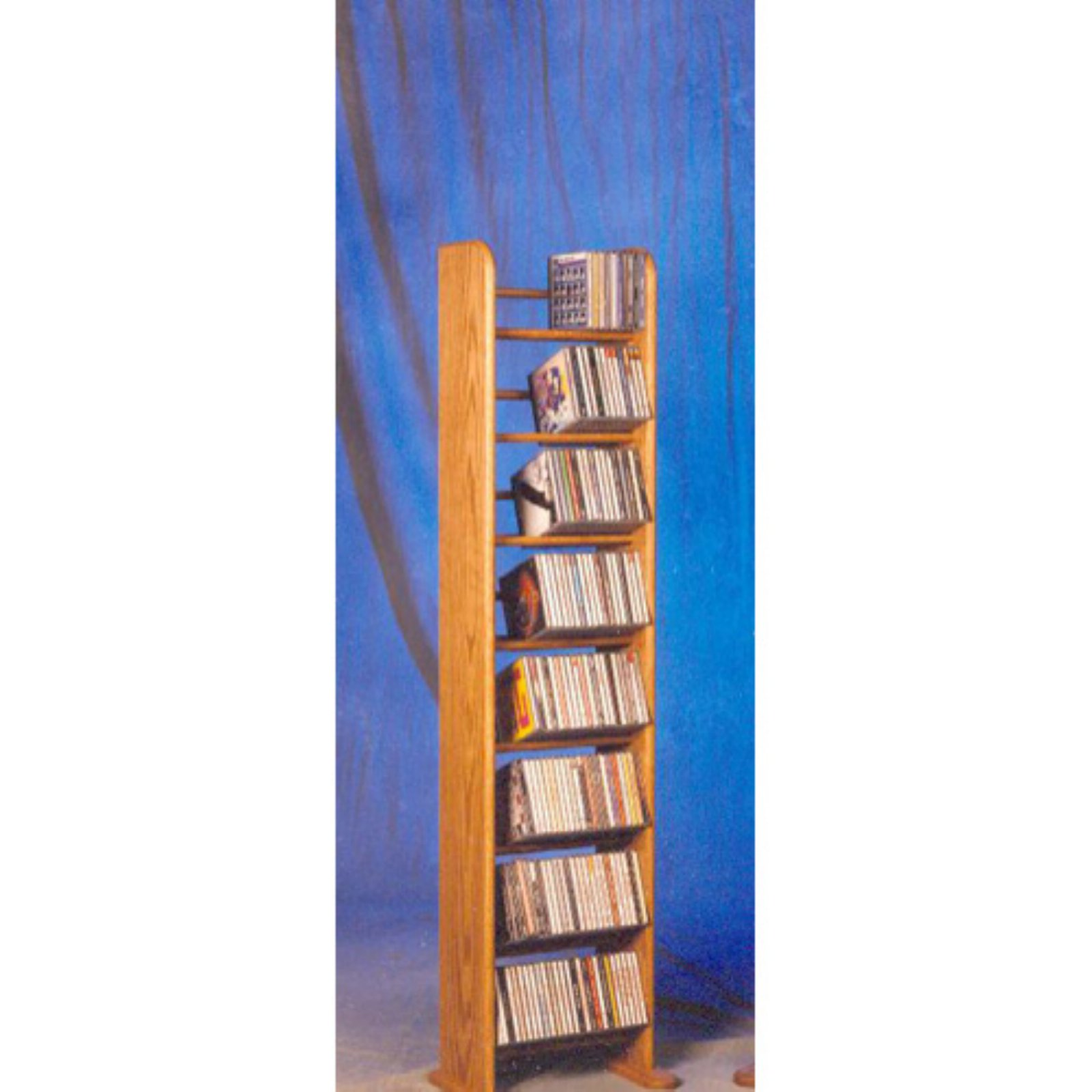 The Wood Shed Solid Oak 8 Row Dowel 208 CD Media Tower Rack