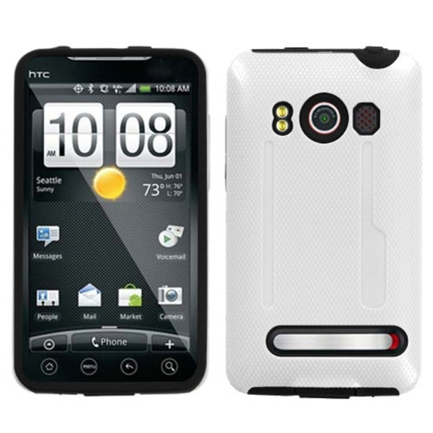 Insten Solid Ivory White/Black Fusion Case for HTC: EVO 4G