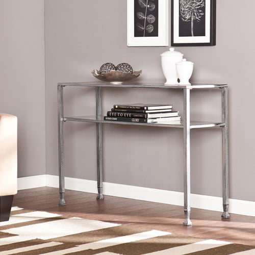 Blundell Metal Glass Console Table, Silver by Southern Enterprises
