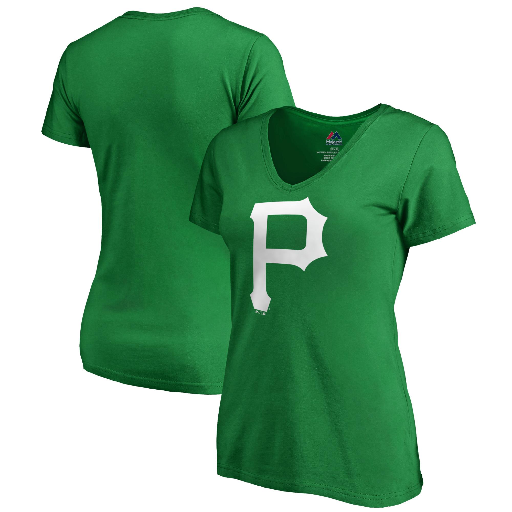 Pittsburgh Pirates Majestic Women's St. Patrick's Day White Logo V-Neck T-Shirt - Kelly Green