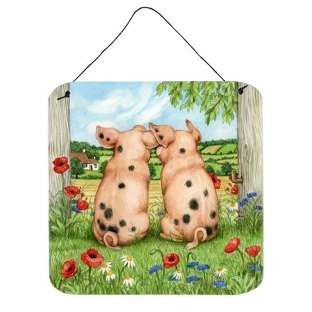 Caroline's Treasures Pigs Side By Side by Debbie Cook Painting Print Plaque
