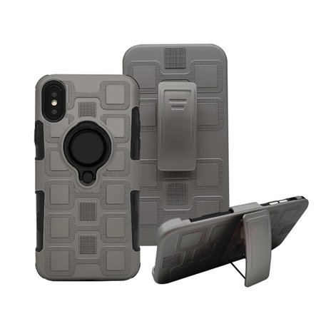 Shockproof Rugged Hybrid Armor Impact Belt Clip Stand Case Cover for iPhone X Ten Shell With Ring Kickstand Heavy Duty Full Body Protective Phone Cases for iPhone X /10 2017 (Gray) -  CELLACC