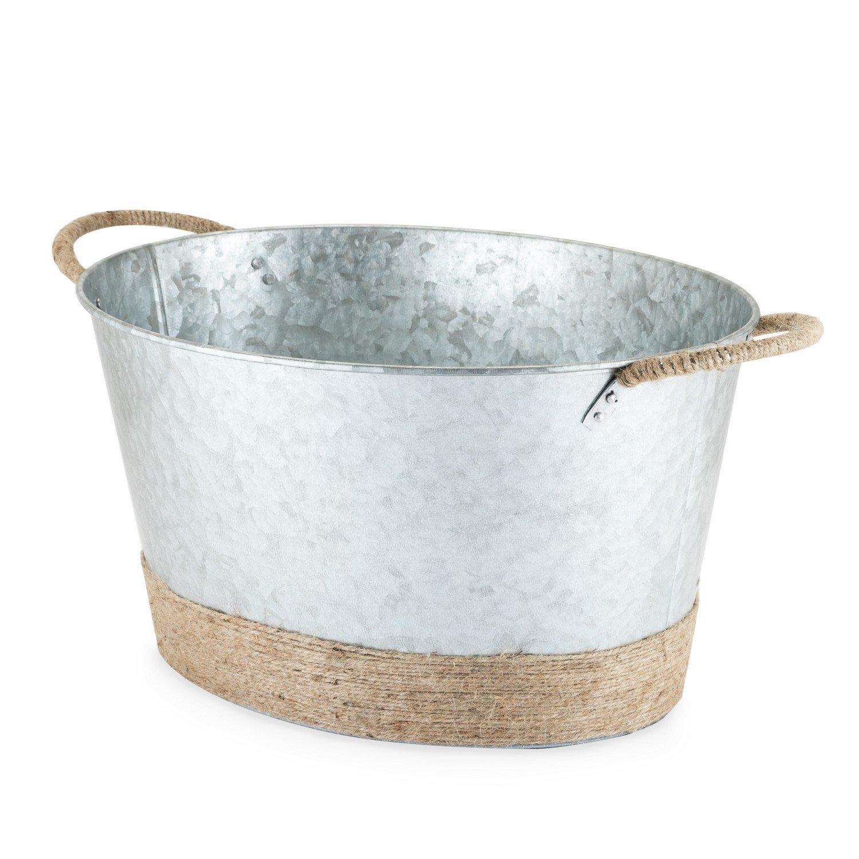 Large Ice Bucket, Jute Rope Wrapped Galvanized Tub Insulated Vintage Ice Bucket