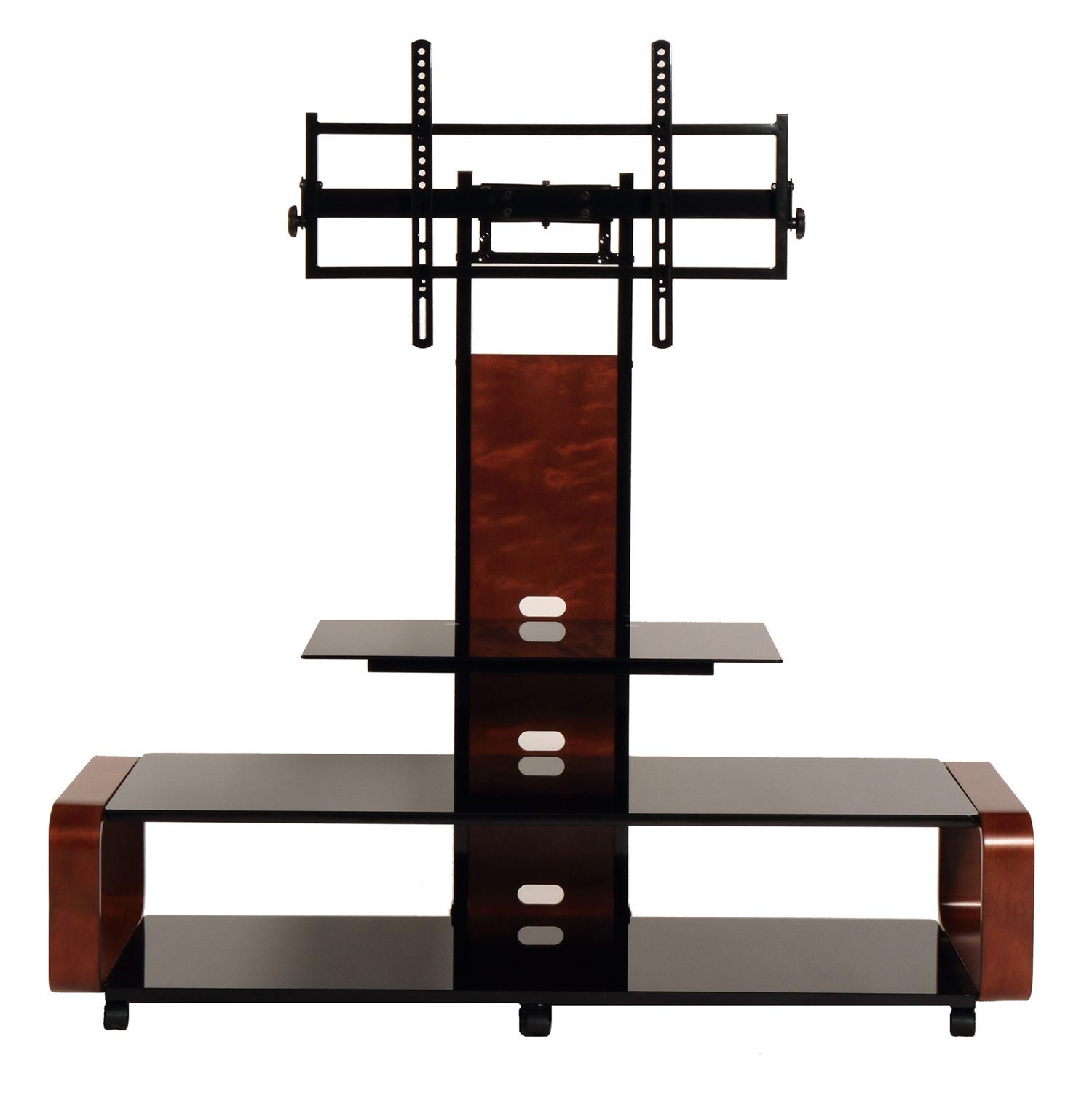 TransDeco Curved Wood TV Stand/Cart with Universal Mounting System for 35 to 85 inch TV, Dark Oak