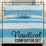 Nautical Coastal Stripes Twin Comforter Bedding Bed Set, Blue and White Striped, Anchor Throw Pillow