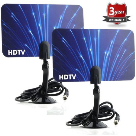 2 Digital Flat Thin Leaf TV Antenna HDTV Antenna UHF/VHF FM Radio. 2 Pack