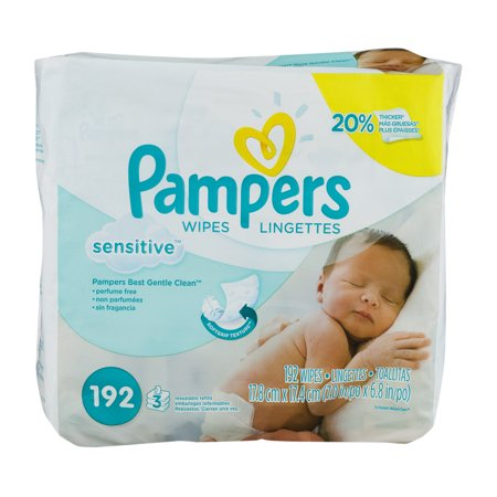 Pampers Sensitive baby wipes' unique Softgrip Texture offers gentle cleaning for your baby's sensitive skin. They are clinically proven mild, dermatologist-tested, hypoallergenic, and perfume-free which helps make changing time even better. Plus Pampers Sensitive wipes are 20% thicker versus regular Pampers wipes.