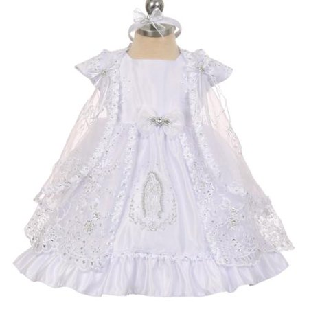 Baby Girls White Virgin Mary Embroidery Cape Baptism Dress 0-24M