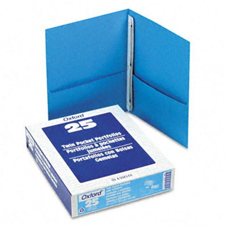 Esselte Pendaflex 57701 Paper Twin-Pocket Portfolio  Tang Fasteners  Letter  1/2   Capacity  Blue  25/Box