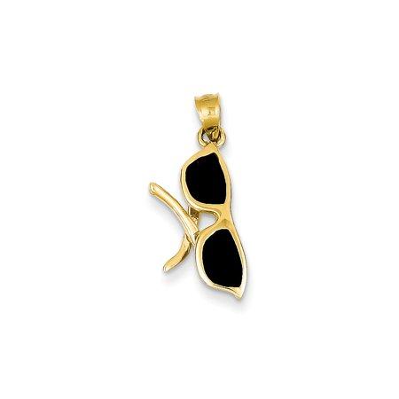 14K Yellow & Rhodium Solid 3-Dimensional Black Enameled Sunglasses Charm 23mm x (Charm & Charm Sunglasses)