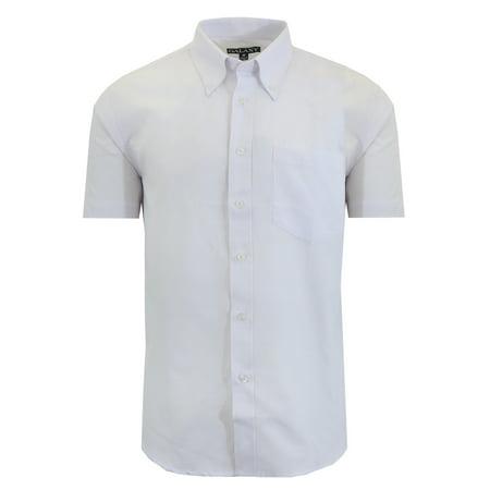 Mens Short Sleeve Oxford Dress Shirt White Casual Button (Button Down Mens Dress Shirt)