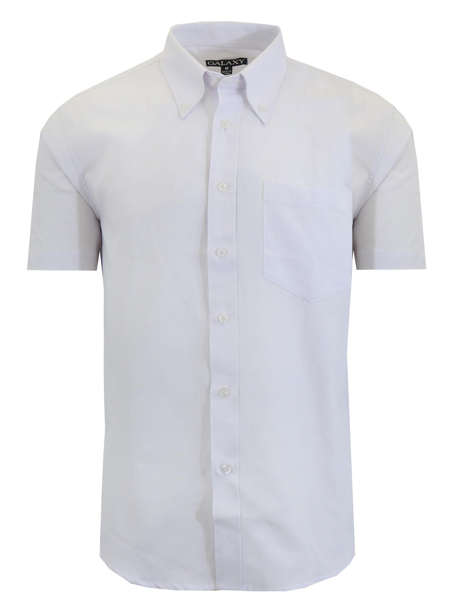 Mens Short Sleeve Oxford Dress Shirt White Casual Button Down