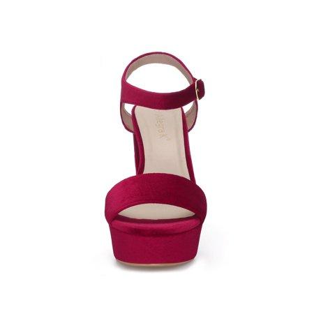 5462f46a264 Unique Bargains Women s Ankle Strap Platform Chunky Heel Velvet Sandals Red  (Size 8.5) ...