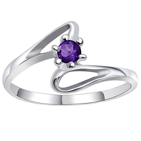 Orchid Jewelry Sterling Silver Amethyst Purple Engagement Ring + Free Jewelry (Best Solitaire Rings India)