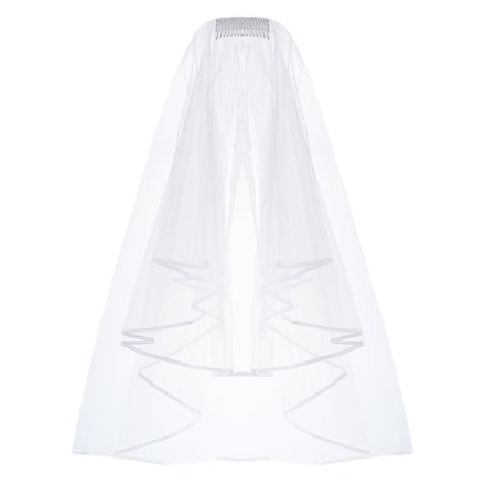 Wedding Veil Cascade Bridal Inserted Tulle Veils with Comb and Ribbon Edge ()