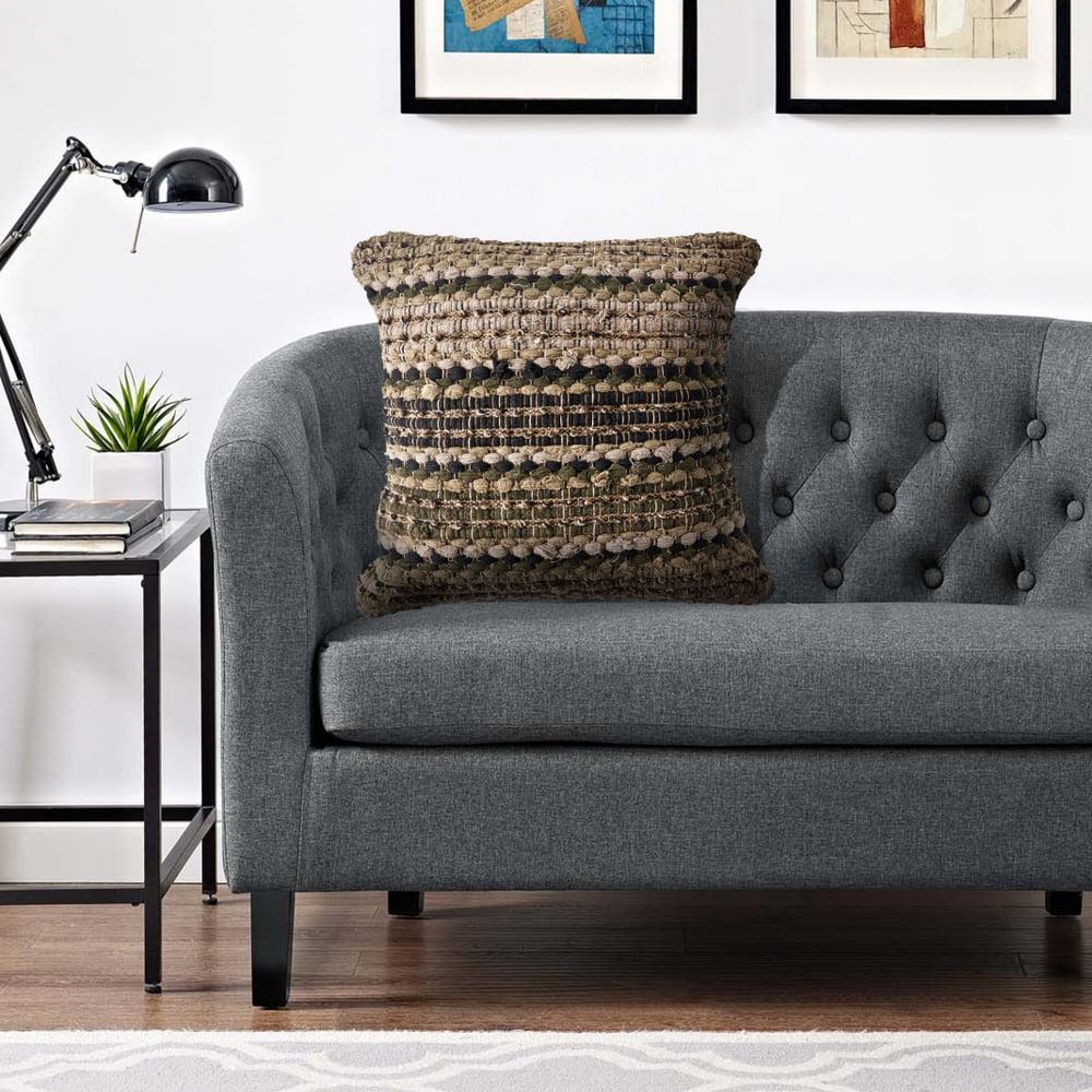 LR Home Khaki Beige Striped Cotton Decorative Throw Pillow 18 inch
