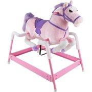 Spring Rocking Horse Plush Ride on Toy with Adjustable Foot Stirrups and Sounds for Toddlers to 5 Years Old by Happy Trails - Pink, STURDY AND SAFE – The spring Rocking.., By Brand Happy Trails