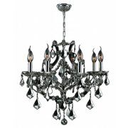 "Lyre Collection 8 Light Chrome Finish and Chrome Crystal Chandelier 26"" D x 22"" H Large"