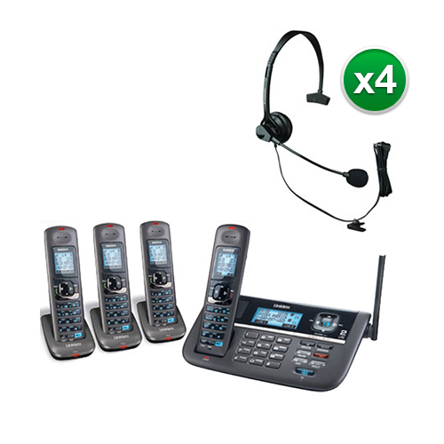 Uniden DECT4086-4 with Headset DECT 6.0 2 Line Cordless Phone System by Uniden