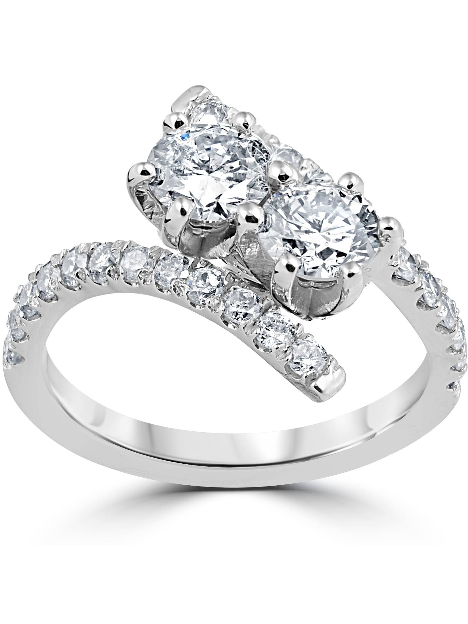 1 cttw Diamond 2 Stone Forever Us Engagement Anniversary Ring 14k White Gold by Pompeii3