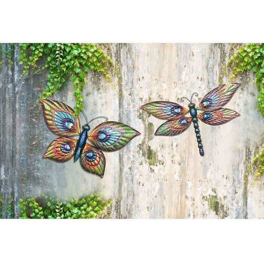 "Sunjoy 110311006 13.23"" Butterfly and 12.5"" Dragonfly Hand-Painted Outdoor Wall Decor, Set of 2"